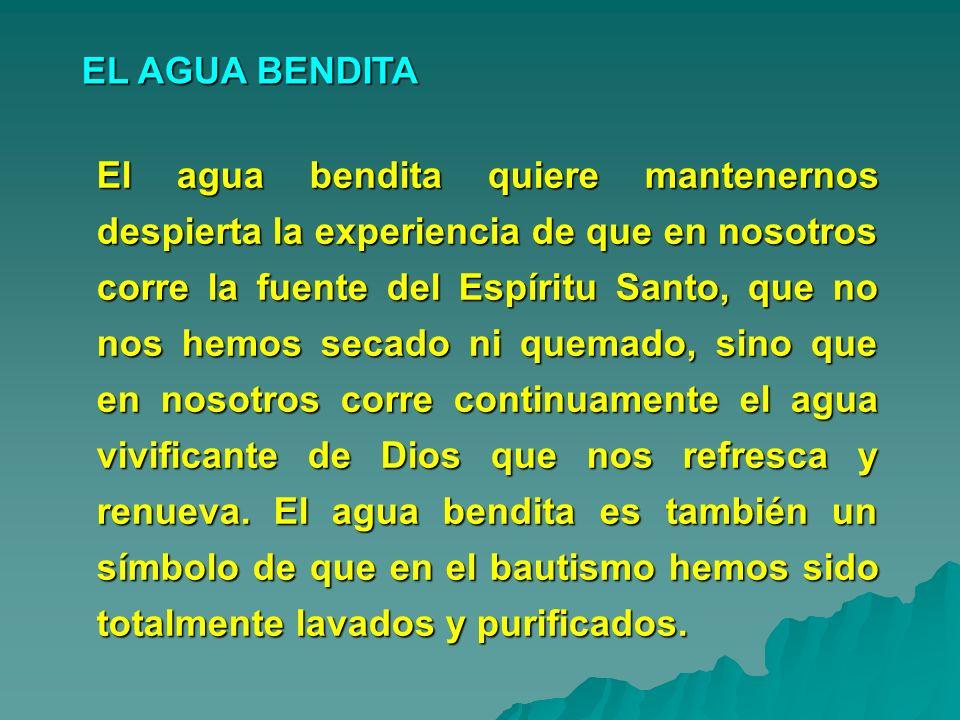 El agua bendita quiere mantenernos despierta la experiencia de que en nosotros corre la fuente del Espíritu Santo, que no nos hemos secado ni quemado,