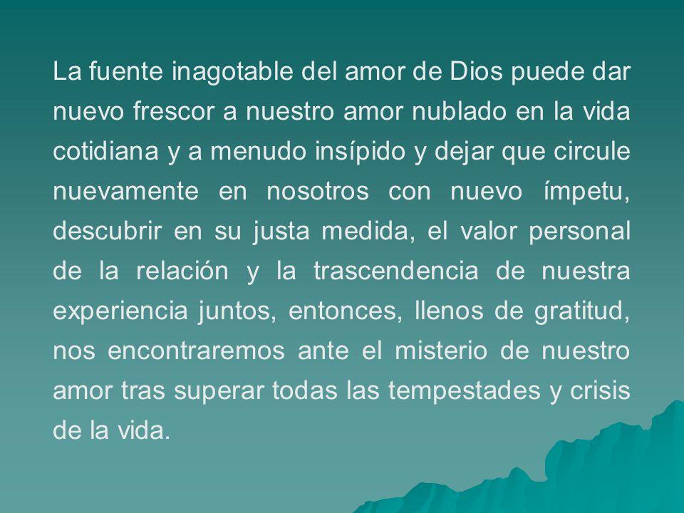 La fuente inagotable del amor de Dios puede dar nuevo frescor a nuestro amor nublado en la vida cotidiana y a menudo insípido y dejar que circule nuev