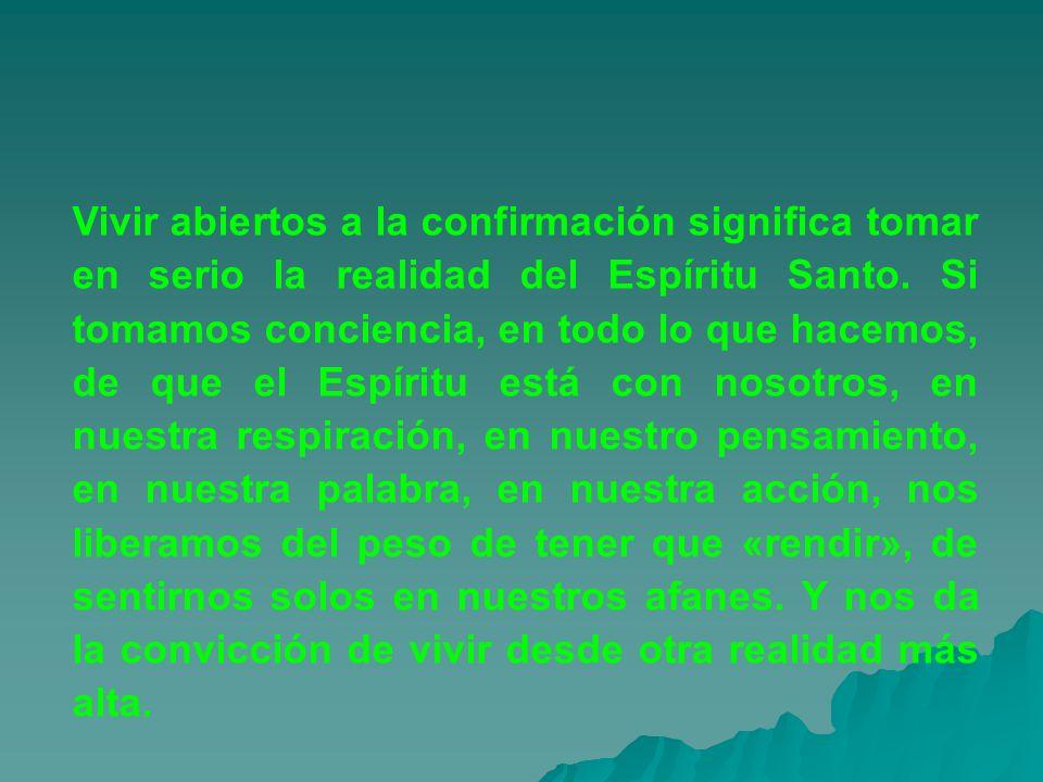 Vivir abiertos a la confirmación significa tomar en serio la realidad del Espíritu Santo. Si tomamos conciencia, en todo lo que hacemos, de que el Esp