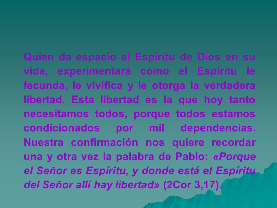Quien da espacio al Espíritu de Dios en su vida, experimentará cómo el Espíritu le fecunda, le vivifica y le otorga la verdadera libertad. Esta libert
