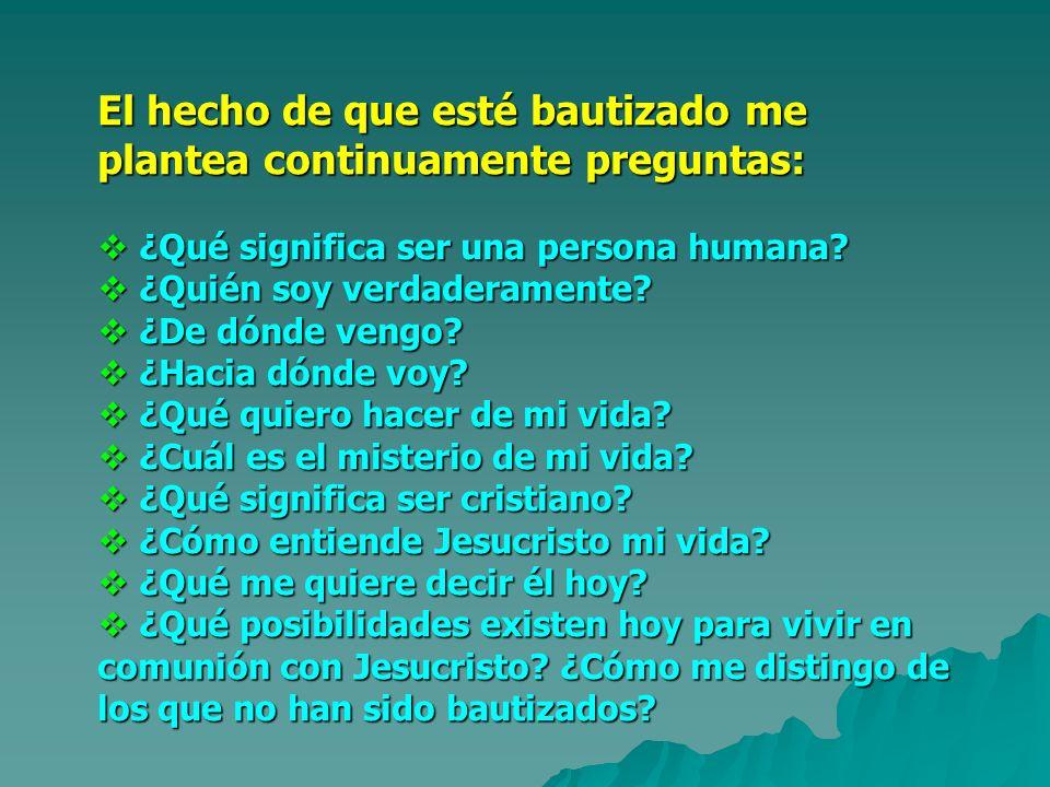 El hecho de que esté bautizado me plantea continuamente preguntas: ¿Qué significa ser una persona humana? ¿Qué significa ser una persona humana? ¿Quié