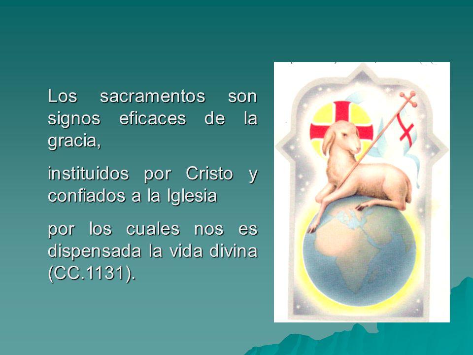 Los sacramentos son signos eficaces de la gracia, instituidos por Cristo y confiados a la Iglesia por los cuales nos es dispensada la vida divina (CC.