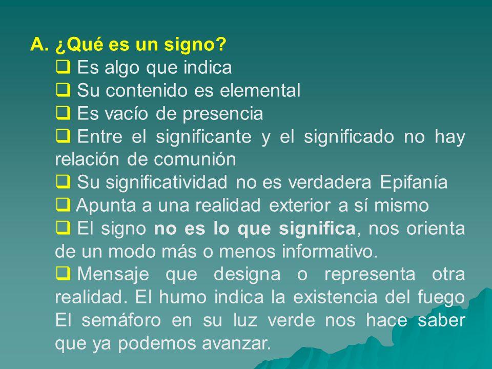 A. ¿Qué es un signo? Es algo que indica Su contenido es elemental Es vacío de presencia Entre el significante y el significado no hay relación de comu