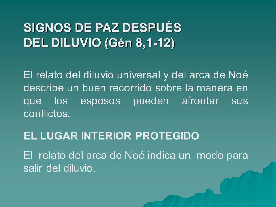 SIGNOS DE PAZ DESPUÉS DEL DILUVIO (Gén 8,1-12) El relato del diluvio universal y del arca de Noé describe un buen recorrido sobre la manera en que los
