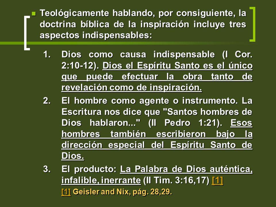 1.Dios como causa indispensable (I Cor. 2:10-12). Dios el Espíritu Santo es el único que puede efectuar la obra tanto de revelación como de inspiració