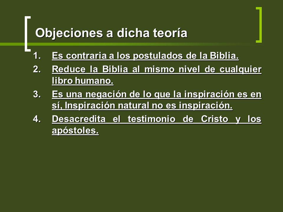 Objeciones a dicha teoría 1.Es contraria a los postulados de la Biblia. 2.Reduce la Biblia al mismo nivel de cualquier libro humano. 3.Es una negación