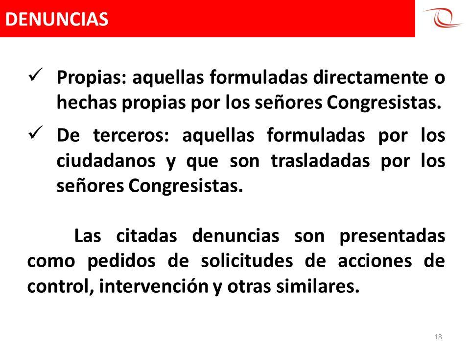 DENUNCIAS 18 Propias: aquellas formuladas directamente o hechas propias por los señores Congresistas. De terceros: aquellas formuladas por los ciudada