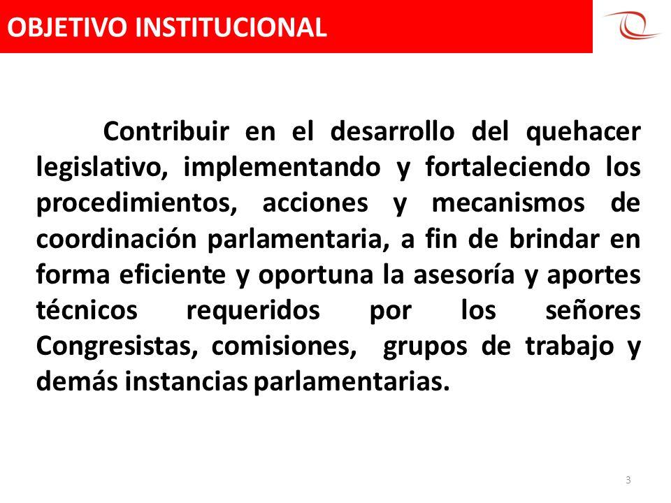 OBJETIVO INSTITUCIONAL 3 Contribuir en el desarrollo del quehacer legislativo, implementando y fortaleciendo los procedimientos, acciones y mecanismos