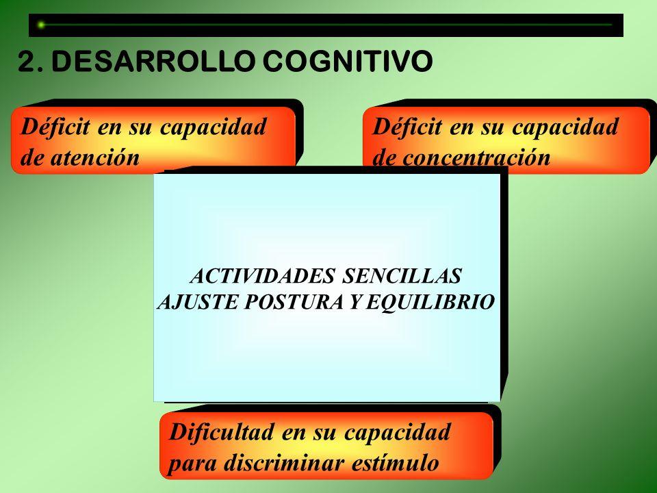 Déficit en su capacidad de atención Dificultad en su capacidad para discriminar estímulo Déficit en su capacidad de concentración 2. DESARROLLO COGNIT