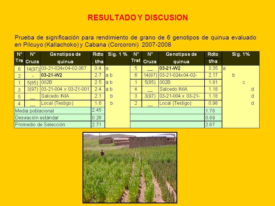 Evaluación fenológica, infección de mildiu y calidad de grano - Cabana (C.c. Collana) 2008- 2009.