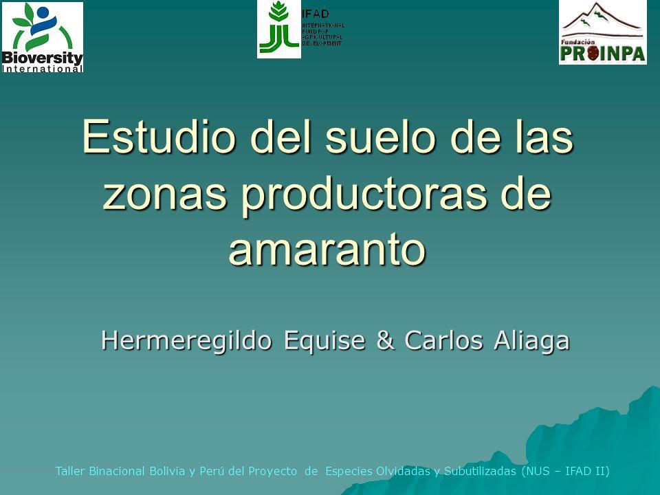 Estudio del suelo de las zonas productoras de amaranto Hermeregildo Equise & Carlos Aliaga Taller Binacional Bolivia y Perú del Proyecto de Especies O