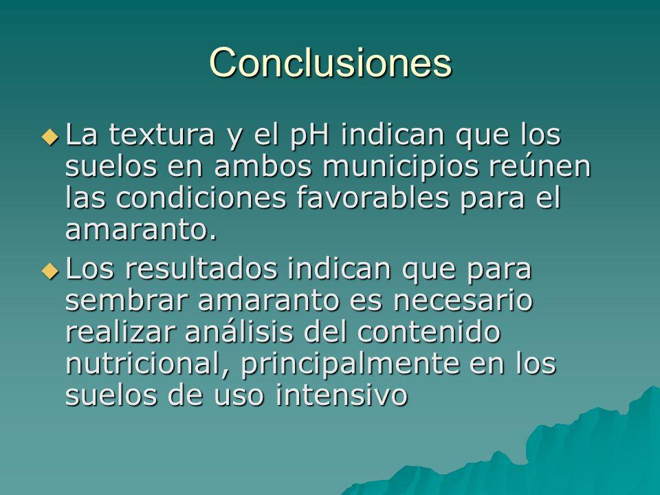 Conclusiones La textura y el pH indican que los suelos en ambos municipios reúnen las condiciones favorables para el amaranto. La textura y el pH indi