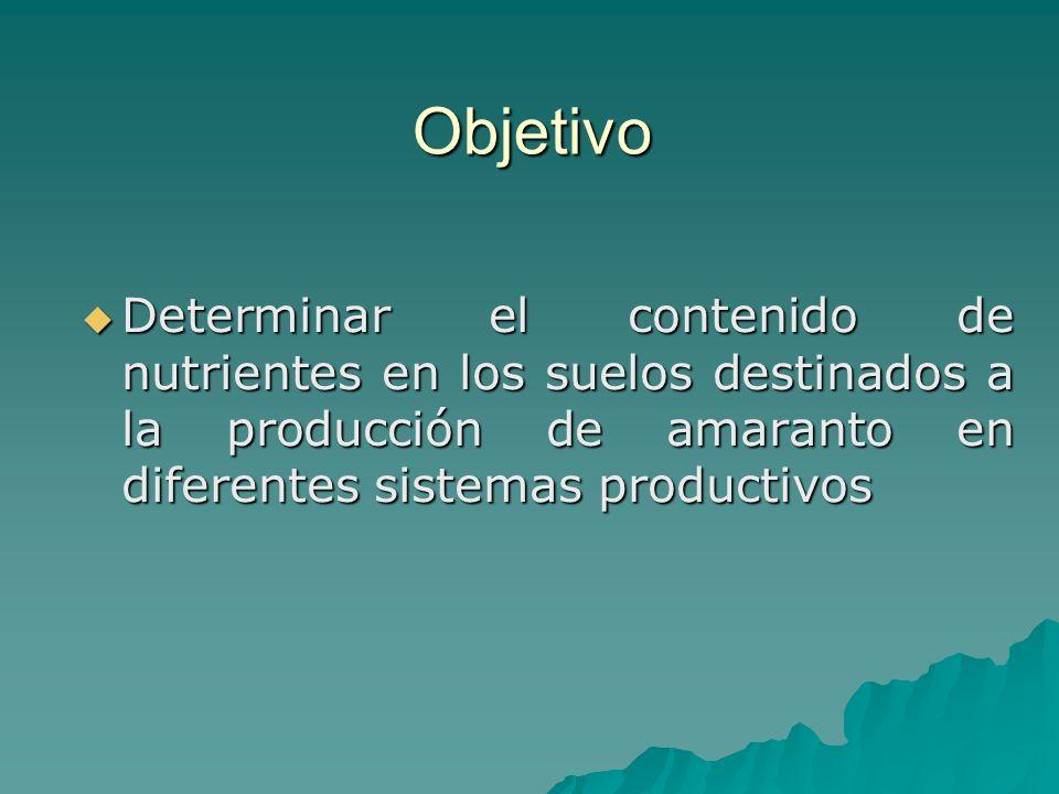 Objetivo Determinar el contenido de nutrientes en los suelos destinados a la producción de amaranto en diferentes sistemas productivos Determinar el c