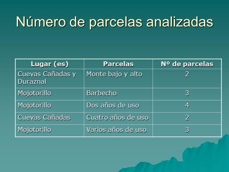 Número de parcelas analizadas Lugar (es) Parcelas Nº de parcelas Cuevas Cañadas y Duraznal Monte bajo y alto 2 MojotorilloBarbecho3 Mojotorillo Dos añ