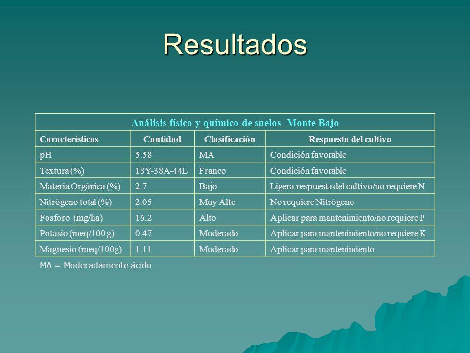 Resultados Análisis físico y químico de suelos Monte Bajo CaracterísticasCantidadClasificaciónRespuesta del cultivo pH5.58MACondición favorable Textur