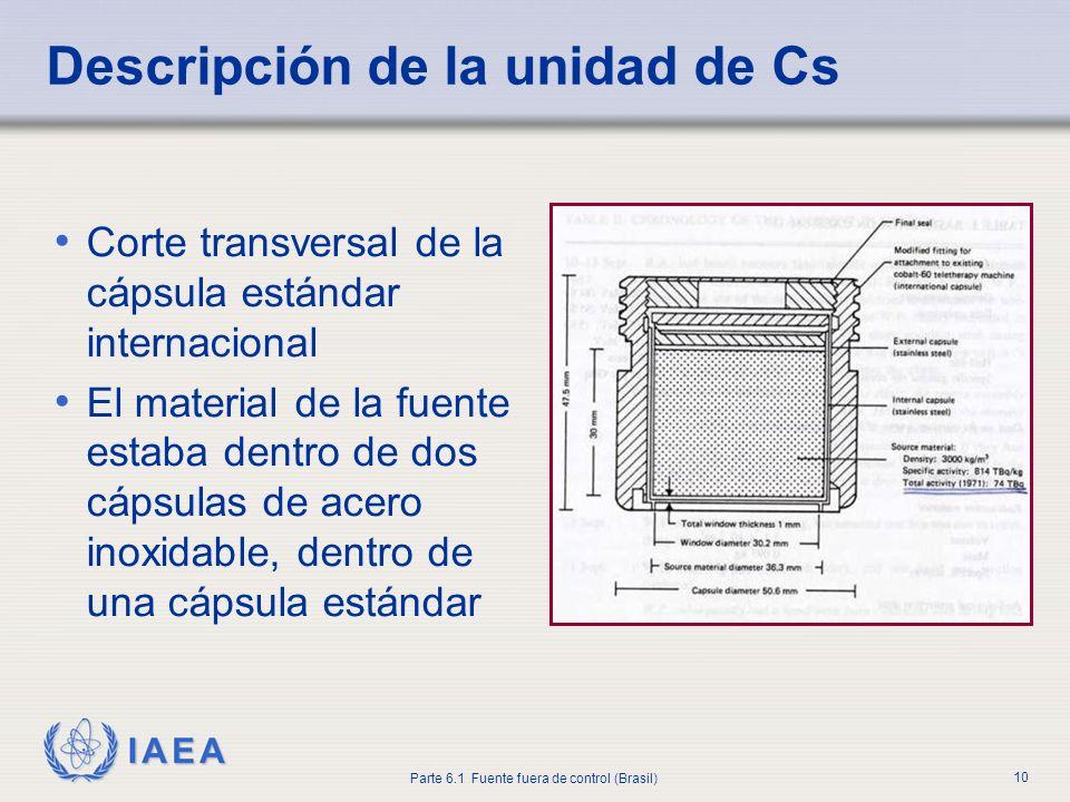 IAEA Parte 6.1 Fuente fuera de control (Brasil) 10 Corte transversal de la cápsula estándar internacional El material de la fuente estaba dentro de do