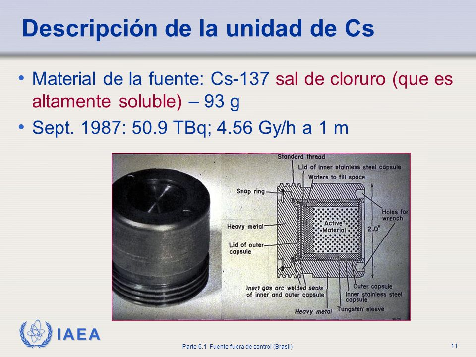 IAEA Parte 6.1 Fuente fuera de control (Brasil) 11 Material de la fuente: Cs-137 sal de cloruro (que es altamente soluble) – 93 g Sept. 1987: 50.9 TBq