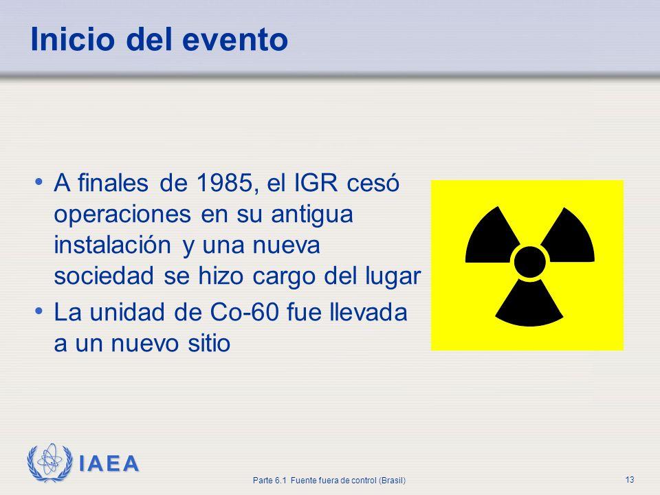 IAEA Parte 6.1 Fuente fuera de control (Brasil) 13 A finales de 1985, el IGR cesó operaciones en su antigua instalación y una nueva sociedad se hizo c