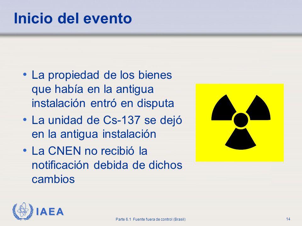 IAEA Parte 6.1 Fuente fuera de control (Brasil) 14 La propiedad de los bienes que había en la antigua instalación entró en disputa La unidad de Cs-137