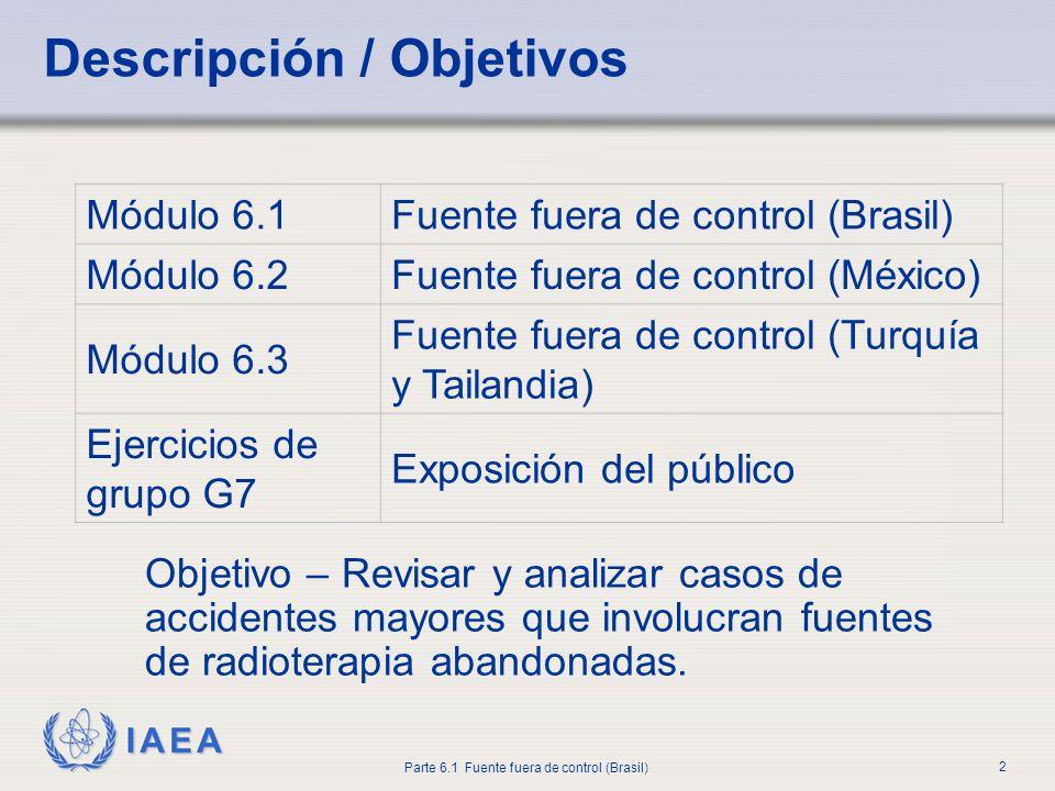 IAEA Parte 6.1 Fuente fuera de control (Brasil) 2 Descripción / Objetivos Objetivo – Revisar y analizar casos de accidentes mayores que involucran fue