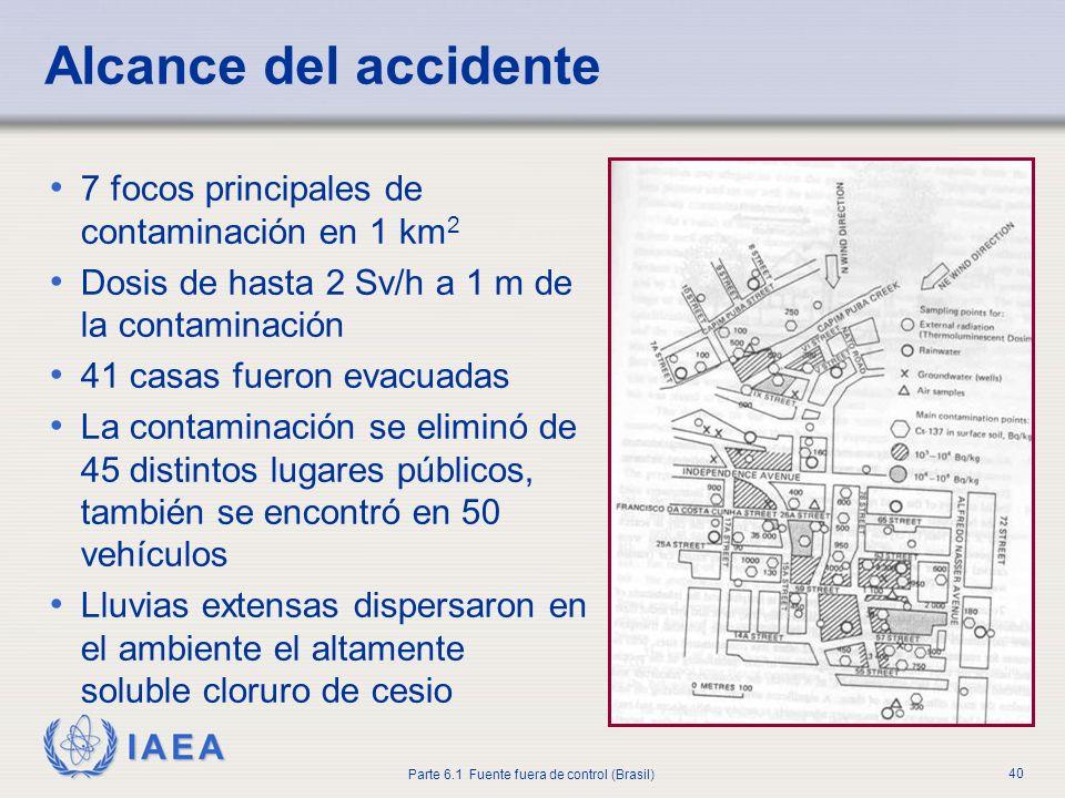 IAEA Parte 6.1 Fuente fuera de control (Brasil) 40 7 focos principales de contaminación en 1 km 2 Dosis de hasta 2 Sv/h a 1 m de la contaminación 41 c
