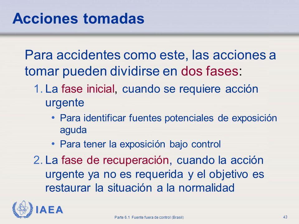 IAEA Parte 6.1 Fuente fuera de control (Brasil) 43 Para accidentes como este, las acciones a tomar pueden dividirse en dos fases: 1.La fase inicial, c