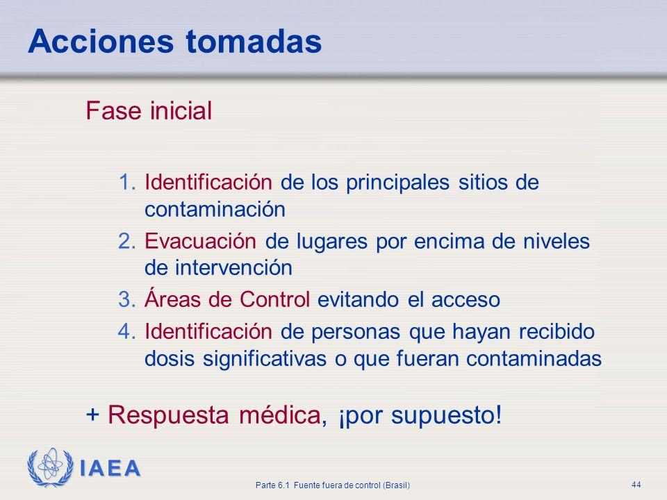 IAEA Parte 6.1 Fuente fuera de control (Brasil) 44 Fase inicial 1.Identificación de los principales sitios de contaminación 2.Evacuación de lugares po