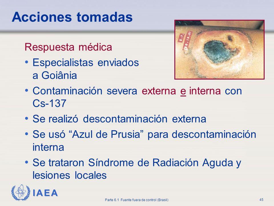 IAEA Parte 6.1 Fuente fuera de control (Brasil) 45 Respuesta médica Especialistas enviados a Goiânia Contaminación severa externa e interna con Cs-137