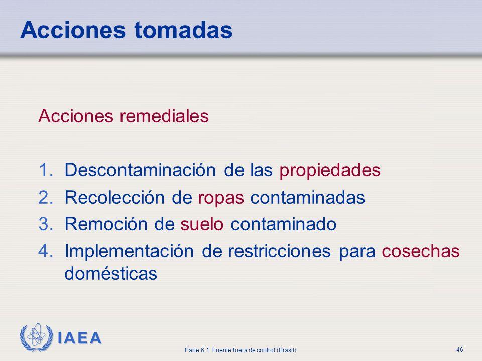 IAEA Parte 6.1 Fuente fuera de control (Brasil) 46 Acciones remediales 1.Descontaminación de las propiedades 2.Recolección de ropas contaminadas 3.Rem