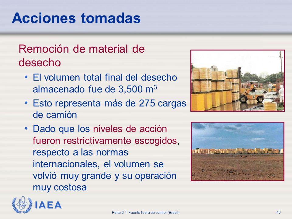 IAEA Parte 6.1 Fuente fuera de control (Brasil) 48 Remoción de material de desecho El volumen total final del desecho almacenado fue de 3,500 m 3 Esto