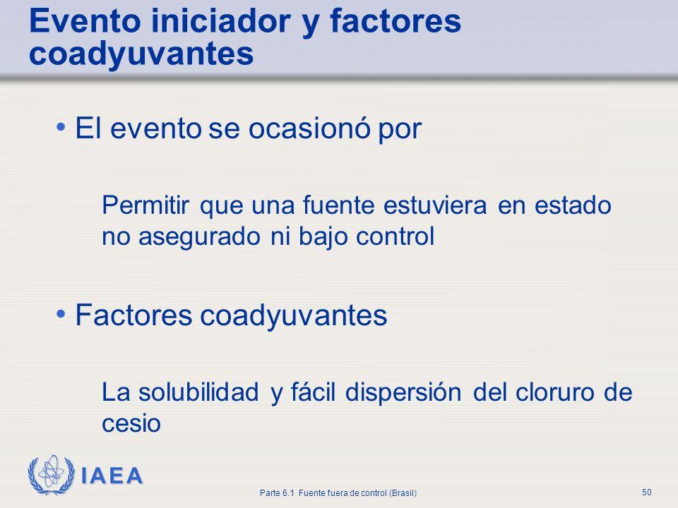 IAEA Parte 6.1 Fuente fuera de control (Brasil) 50 Evento iniciador y factores coadyuvantes El evento se ocasionó por Permitir que una fuente estuvier
