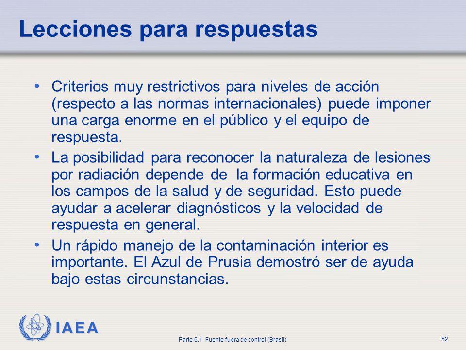 IAEA Parte 6.1 Fuente fuera de control (Brasil) 52 Criterios muy restrictivos para niveles de acción (respecto a las normas internacionales) puede imp