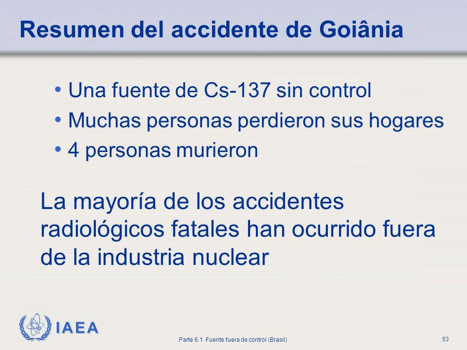 IAEA Parte 6.1 Fuente fuera de control (Brasil) 53 Una fuente de Cs-137 sin control Muchas personas perdieron sus hogares 4 personas murieron La mayor