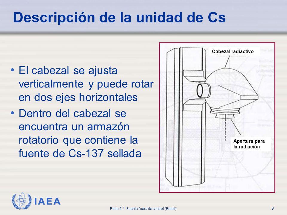 IAEA Parte 6.1 Fuente fuera de control (Brasil) 8 El cabezal se ajusta verticalmente y puede rotar en dos ejes horizontales Dentro del cabezal se encu