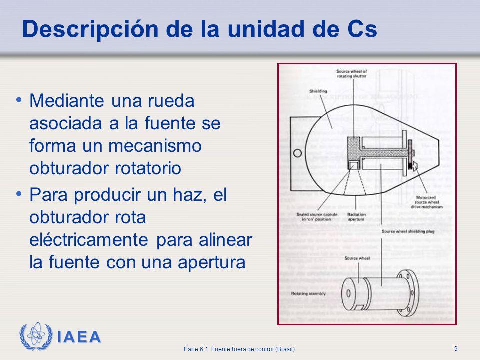IAEA Parte 6.1 Fuente fuera de control (Brasil) 9 Mediante una rueda asociada a la fuente se forma un mecanismo obturador rotatorio Para producir un h