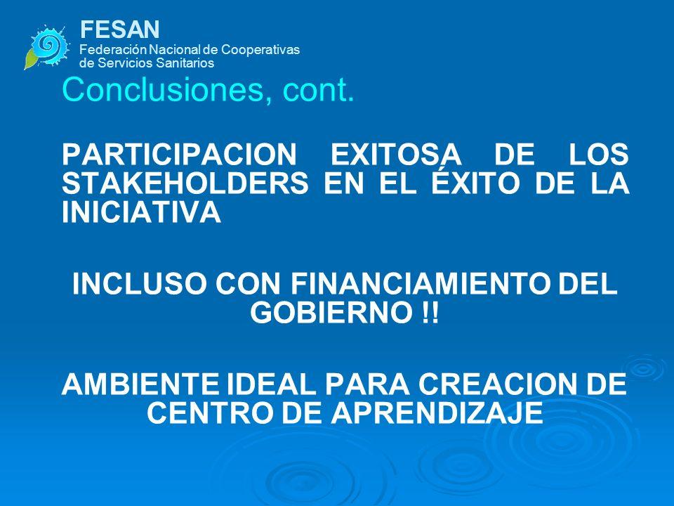 FESAN Federación Nacional de Cooperativas de Servicios Sanitarios Conclusiones, cont. PARTICIPACION EXITOSA DE LOS STAKEHOLDERS EN EL ÉXITO DE LA INIC