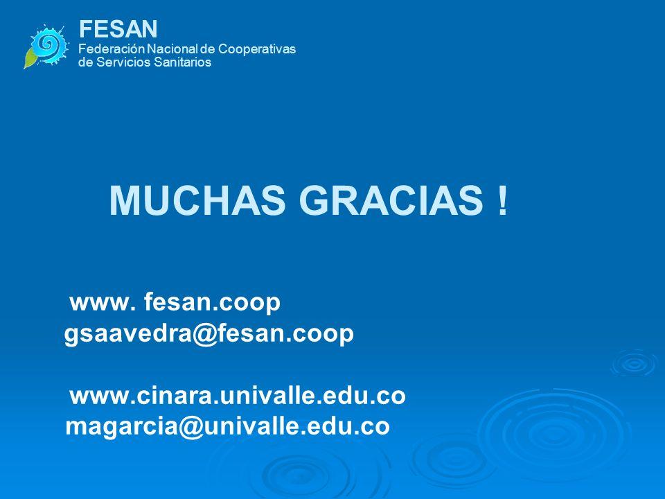 FESAN Federación Nacional de Cooperativas de Servicios Sanitarios MUCHAS GRACIAS ! www. fesan.coop gsaavedra@fesan.coop www.cinara.univalle.edu.co mag