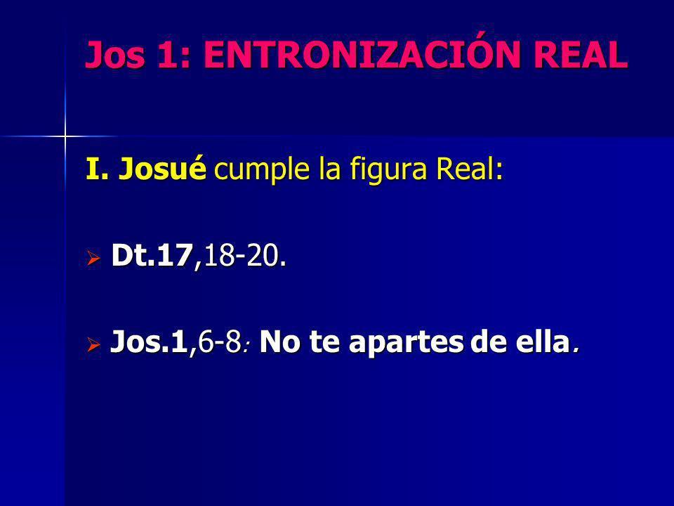 Jos 1: ENTRONIZACIÓN REAL I. Josué cumple la figura Real: Dt.17,18-20. Dt.17,18-20. Jos.1,6-8 : No te apartes de ella. Jos.1,6-8 : No te apartes de el
