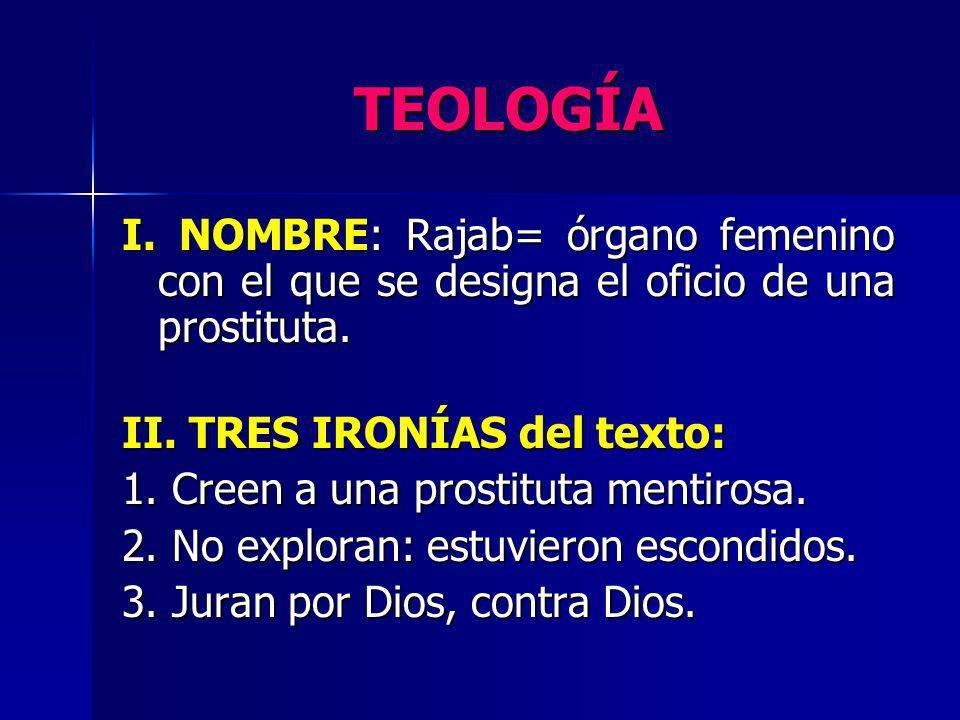 TEOLOGÍA I. NOMBRE: Rajab= órgano femenino con el que se designa el oficio de una prostituta. II. TRES IRONÍAS del texto: 1. Creen a una prostituta me
