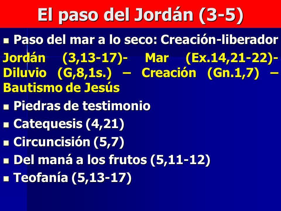 El paso del Jordán (3-5) Paso del mar a lo seco: Creación-liberador Paso del mar a lo seco: Creación-liberador Jordán (3,13-17)- Mar (Ex.14,21-22)- Di