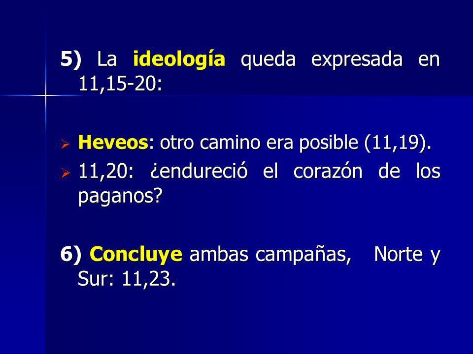 5) La ideología queda expresada en 11,15-20: Heveos: otro camino era posible (11,19). Heveos: otro camino era posible (11,19). 11,20: ¿endureció el co