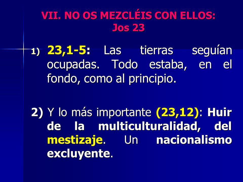 VII. NO OS MEZCLÉIS CON ELLOS: Jos 23 1) 23,1-5:Las tierras seguían ocupadas. Todo estaba, en el fondo, como al principio. 2) Y lo más importante (23,