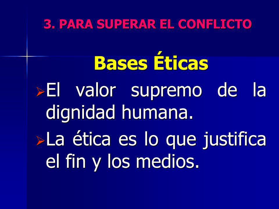 3. PARA SUPERAR EL CONFLICTO Bases Éticas El valor supremo de la dignidad humana. El valor supremo de la dignidad humana. La ética es lo que justifica