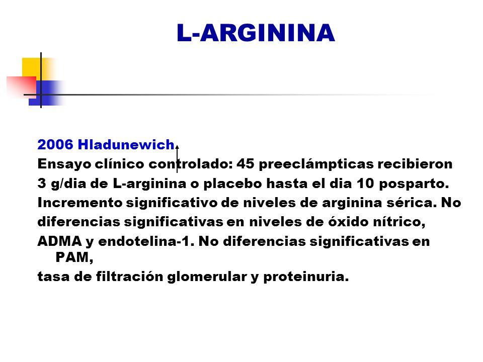 L-ARGININA 2006 Hladunewich Ensayo clínico controlado: 45 preeclámpticas recibieron 3 g/dia de L-arginina o placebo hasta el dia 10 posparto. Incremen