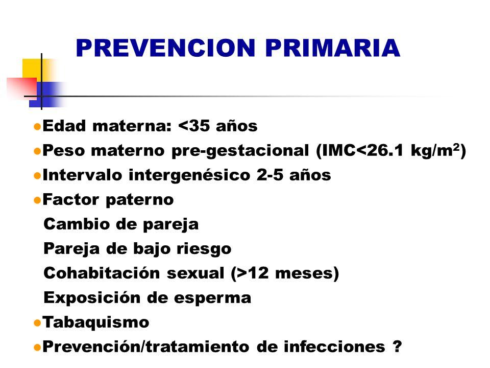 PREVENCION PRIMARIA Edad materna: <35 años Peso materno pre-gestacional (IMC<26.1 kg/m 2 ) Intervalo intergenésico 2-5 años Factor paterno Cambio de p