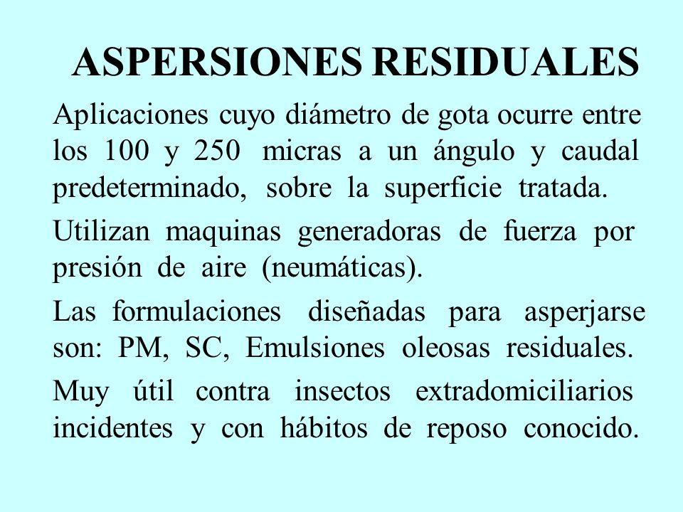 ASPERSIONES RESIDUALES Aplicaciones cuyo diámetro de gota ocurre entre los 100 y 250 micras a un ángulo y caudal predeterminado, sobre la superficie t