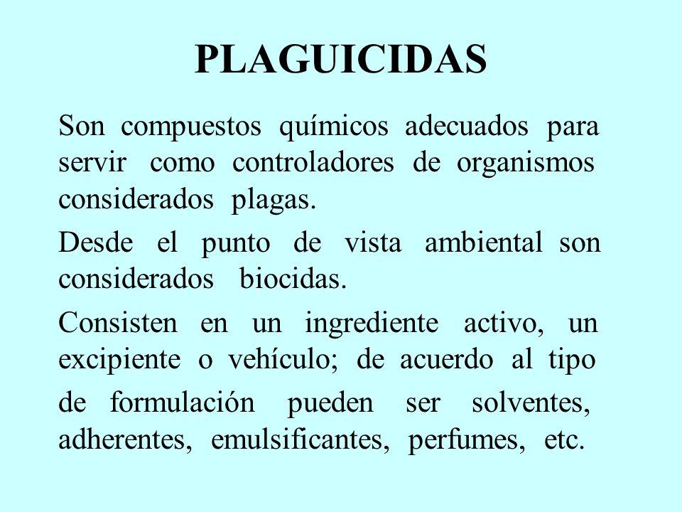 PLAGUICIDAS Son compuestos químicos adecuados para servir como controladores de organismos considerados plagas. Desde el punto de vista ambiental son