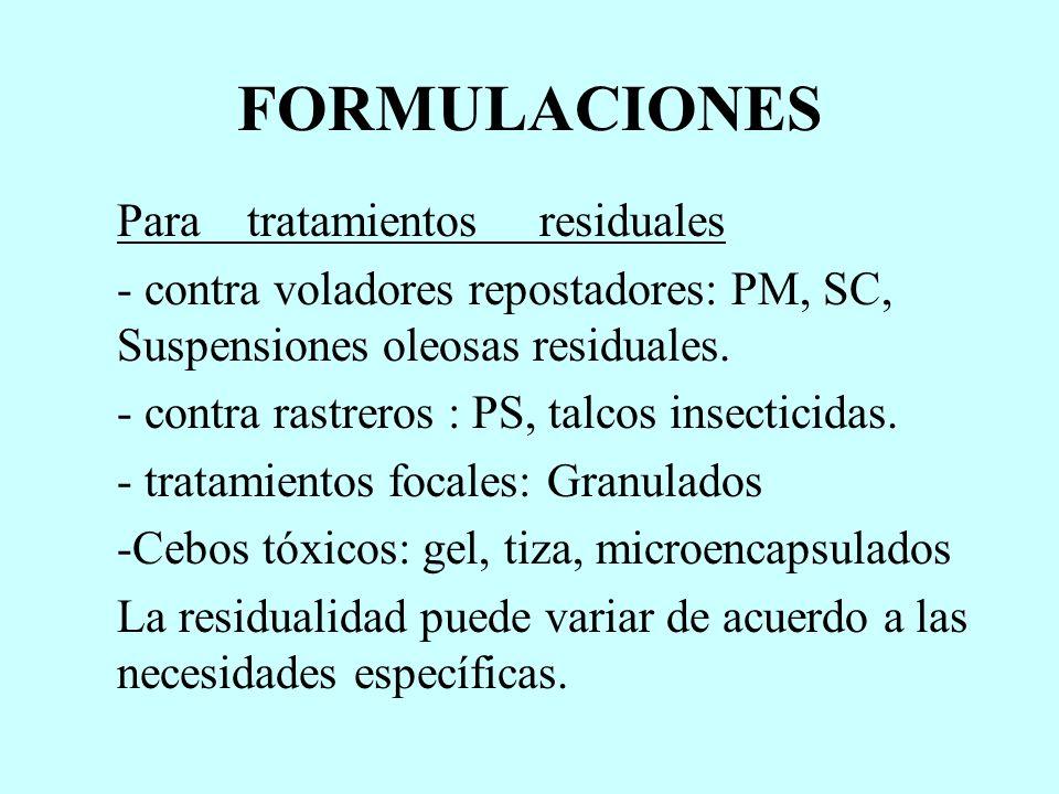 FORMULACIONES Para tratamientos residuales - contra voladores repostadores: PM, SC, Suspensiones oleosas residuales. - contra rastreros : PS, talcos i