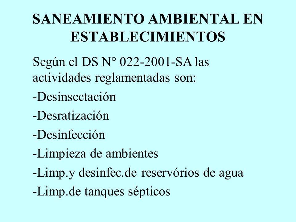 SANEAMIENTO AMBIENTAL EN ESTABLECIMIENTOS Según el DS N° 022-2001-SA las actividades reglamentadas son: -Desinsectación -Desratización -Desinfección -