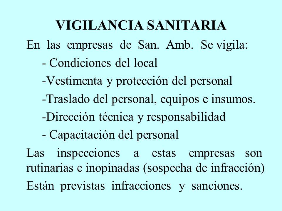 VIGILANCIA SANITARIA En las empresas de San. Amb. Se vigila: - Condiciones del local -Vestimenta y protección del personal -Traslado del personal, equ